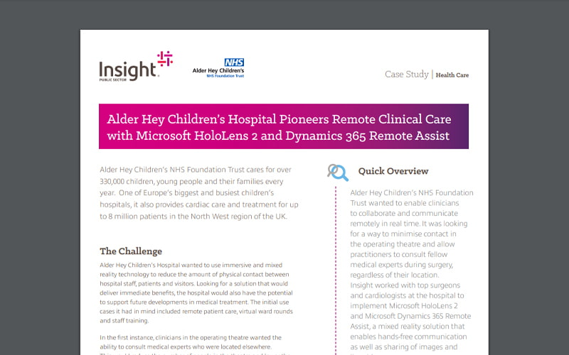 Case study of Insight's collaboration with Alder Hey
